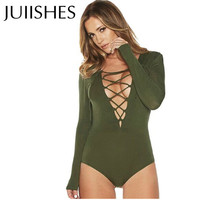 New Sexy Women Bodysuit Plunge V Neckline Lace Up Tie Front Stretch Playsuit Leotard Jumpsuit Overalls Enteritos Mujer Club Wear
