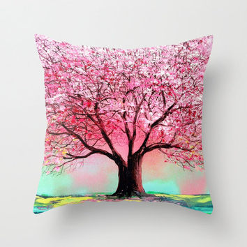 Pillow cover cherry blossom art by Aja 16x16 18x18 20x20 choose size Story of the Tree 74