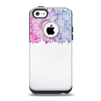 The Vibrant Vintage Polka & Sketch Pink-Blue Floral Apple iPhone 5c Otterbox Commuter Case Skin Set
