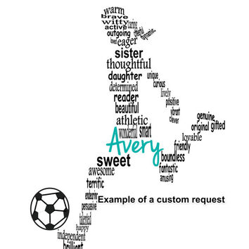 Personalized Girl Soccer Football Player Art, Unique Handmade Word Art Typography, Soccer Player Word Art, PRINTABLE DIGITAL FILE