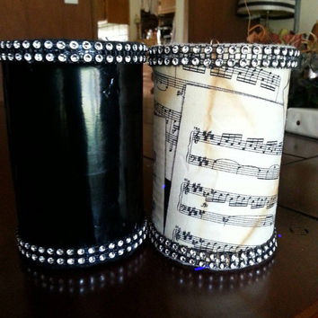 Set of 2 Pencil Holders Music THemed with Rhinestone Trim Aged Sheet Music and Shiny Vinyl Wedding Guest Book Sign In Pen Holder