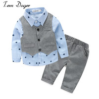 2016 Autumn style infant clothes baby clothing sets boy Cotton prints Long sleeve 3pcs suit baby boy clothes newborn