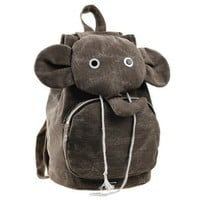 ZLCY Super Cute Canvas Elephant Backpack (Brown)