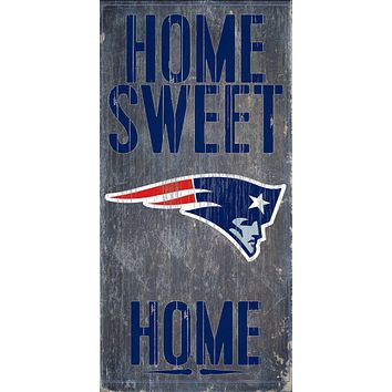 """New England Patriots Wood Sign Home Sweet Home 6""""x12"""""""