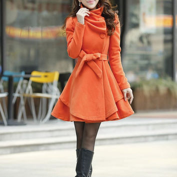 Women's coat Princess style cute dress belt Apring Orange Pink Beige S/M/L