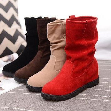 Pure Color Ankle Suede Slip On Casual Boots