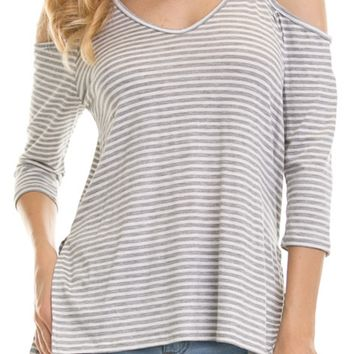 Gray Stripped Cut Out Shirt
