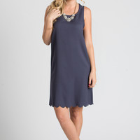 Aurora Charcoal Sleeveless Shift Dress With Scallop Hem