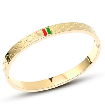 GUCCI Fashion new red green stripe more letter women and men bracelet jewelry Golden