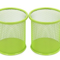 EasyPAG 2 Pcs 3.5 inch Round Mesh Steel Pencil Pen Holder ,Green