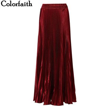 Colorfaith XL Length 100cm 110cm 2017 New Fashion Satin Maxi Skirts Pleated Women Long Skirt High Waist Saias Femininas SK0401