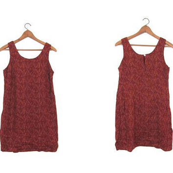90s Tribal Print Dress Hippie Sun Dress Light Airy Slip Dress Brown Red Rayon Summer Boho Vintage Ethnic Natural Dress Womens Small Medium