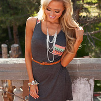 Forever On Your Side Belted Tank Dress Charcoal