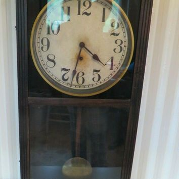 "Antique Handcrafted Wooden 31"" Wall w/ Brass Pendulum Key Wind Sessions Clock"