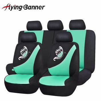 2017 New Car Seat Cover Butterfly Printing Pink Green Seat Cover Universal Purple Car Accessories Cute Mesh Cloth Seat Covers