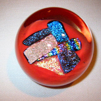 Rose Johnson Red Glass Paperweight Shimmer Gold Blue Specs Signed By Artist