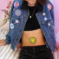 70s Groovy Rainbow Smiley Face Iron On Patch