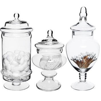 Set of 3 Deluxe Apothecary Jar Sets / Glass Kitchen Storage Jars / Terrarium ...