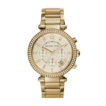Michael Kors Parker Yellow Gold-Tone Stainless Steel Ladies Chronograph Watch