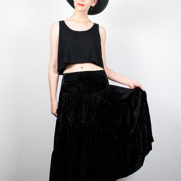 Vintage 90s Skirt Black Crushed VELVET Skirt 1990s Skirt Tiered Midi Skirt Boho Hippie Gypsy Skirt Soft Grunge Skirt XL Extra large XXL