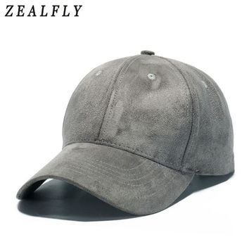 Trendy Winter Jacket Gray Suede Hats For Men 2018 New Solid Women Baseball Caps Outdoor Casual Sun Snapback Hip Hop Dad Cap AT_92_12