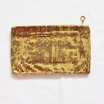 Gold purse, Vintage, mesh evening bag, 1950's era Duramesh brand clutch purse