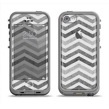 The Gray Toned Wide Vintage Chevron Pattern Apple iPhone 5c LifeProof Fre Case Skin Set
