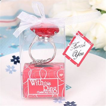 Red Love Diamond Ring Shape Keychain Key Accessories Home Party Favors Wedding Gifts For Guests Wedding Souvenirs