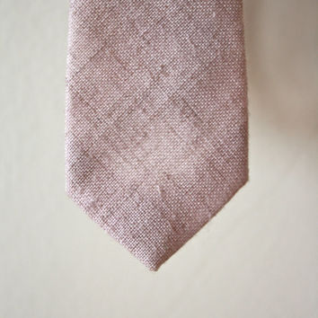 Light Pinkish Cream Textured Skinny Tie Vintage 70s