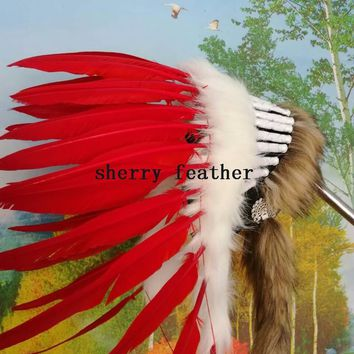 21inch high RED Indian Feather headdress indian war bonnet american feather costumes chief warbonnet