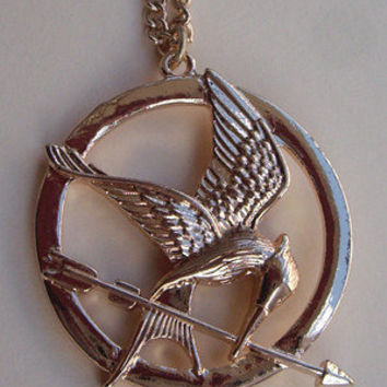 SALE--The Hunger Games pendant ,Inspired Mockingjay Necklace-Bronze--double sides-antique golden