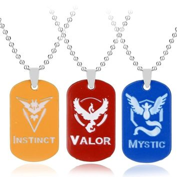 Pokemon Go Dog Tag Team  Pendent Metal Necklace Fashion Jewelry