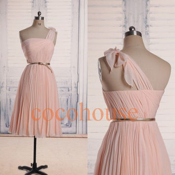 Pink Ruffled Tea Length One Shoulder  Prom Dresses Bridesmaid Dresses Party Dresses Homecoming Dresses Evening Dresses Wedding Party Dresses