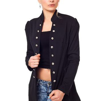 Metrofive Fashion Women's Blazer Military Look with Stand Up Collar S/M Black