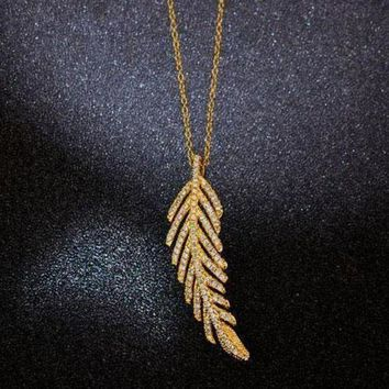 CREYUP0 Tiffany Women Fashion Feather Plated Necklace Jewelry-1