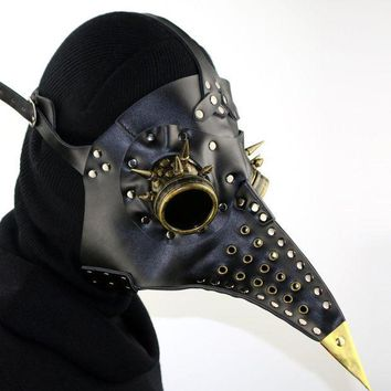 CREY6F Unique Design Hand Made Leather Plague Doctor Death Mask Bird Beak Spike Steampunk Steam Punk Gothic Halloween LARP Cosplay