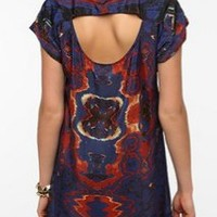 Staring at Stars Silky Mirrored Photo Print Dress - Urban Outfitters