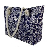"""""""Always My Style"""" Navy White Paisley Print Canvas Tote Bag"""