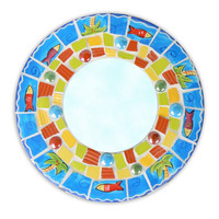 Tropical Round China Mosaic Mirror- Pique Assiette