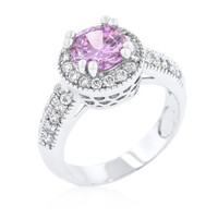 Pink Halo Engagement Ring, size : 08