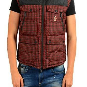 Moncler Men's VADRET Red Hooded Down Full Zip Down Vest Sz 3 US M