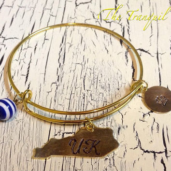 University of Kentucky UK Wildcats Hand Stamped Jewelry Wire Bangle Charm Bracelet