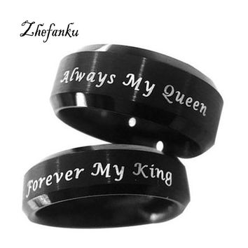 Cool Black Couple Rings Always Your Queen Ring For Lovers Stainless Steel Forever My King Ring Lovers AnilloAT_93_12