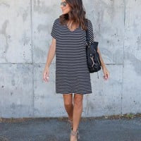 Style Street Striped Keyhole Dress