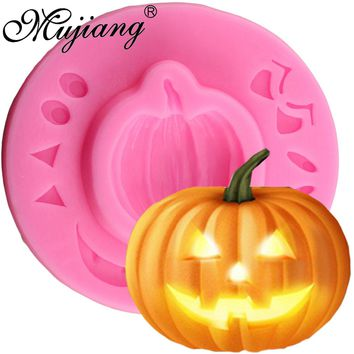 Mujiang Halloween Chocolate Silicone Molds Funny Pumpkin Sugar Candy Moulds DIY Cupcake Party Fondant Cake Decorating Tools