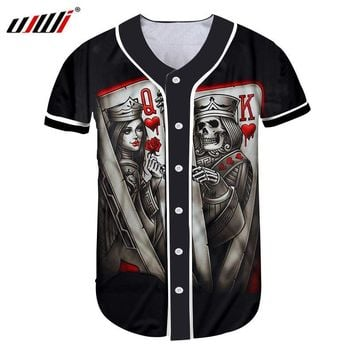 Halloween Skull Skulls Skeleton prop UJWI Custom Baseball Jersey Print  Queen And King Poker 3D Button T-shirt Man Hip Hop Gyms Uniforms Shirts Casual Tshirt AT_57_4