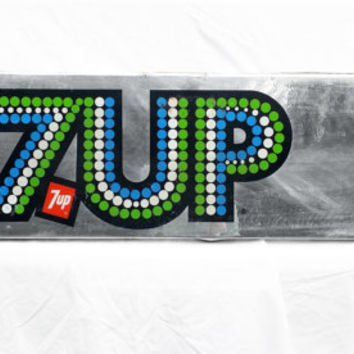 Vintage 7-UP Sign, Retro Cola Advertising Sign; Industrial Decor
