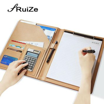 RuiZe Multifunction PU leather folder organizer padfolio soft cover A4 big file folder Contract Clamp with notepad office supply