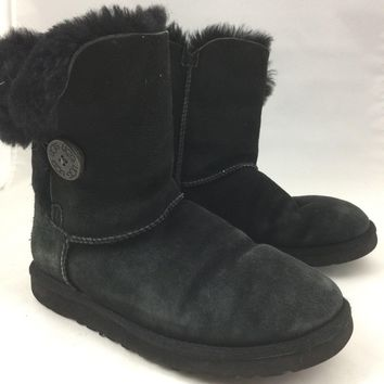 "UGG Australia ""Bailey Button"" Black Suede Sheepskin-Lined Ankle Boots - Size 7"