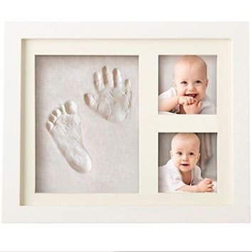 Baby Clay Handprint & Footprint Photo Frame Kit for Newborn Girls and Boys, Unique Baby Shower Gifts Set for Registry, Memorable Keepsake Box Decorations for Room Wall or Nursery Decor